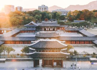 An shot of an old shrine is Seoul, South Korea.