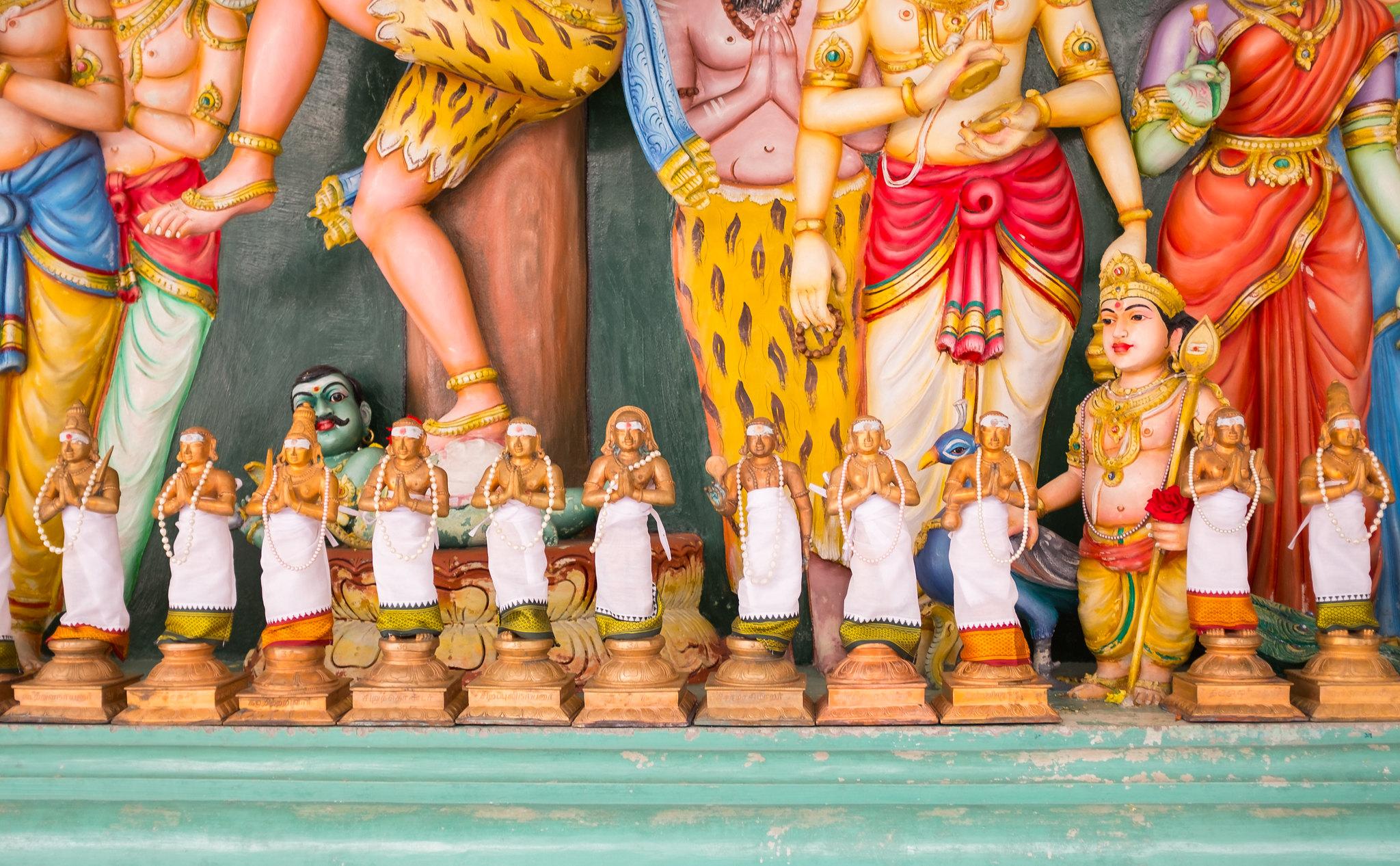 Statues at the Sri Mahamariamman Temple in Kuala Lumpur