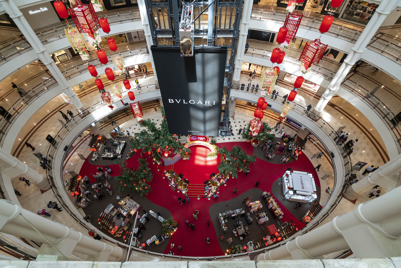 Interior view of Suria KLCC shopping mall with commemorative decorations of Chinese new year in Kuala Lumpur, Malaysia