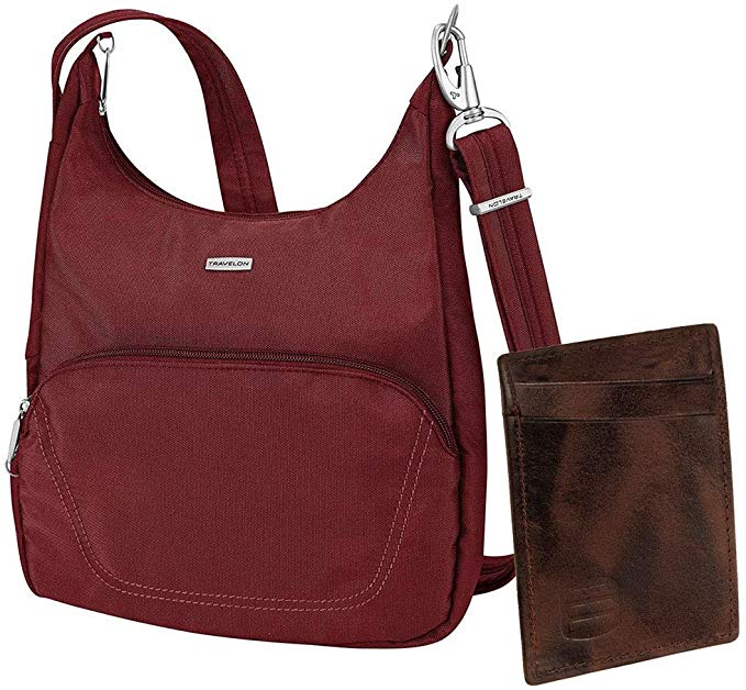 Maroon colored Travelon messenger bag with card holder included
