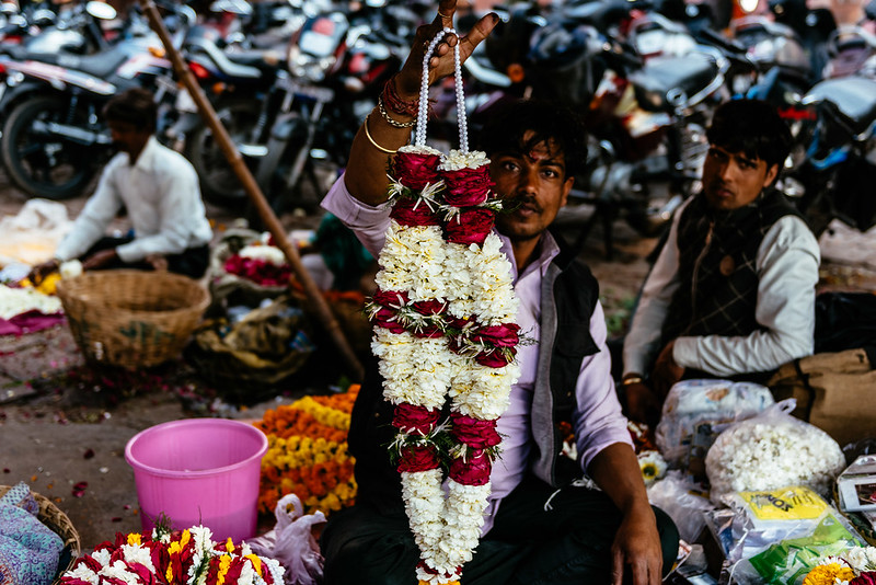 Flower peddlers in India.